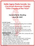 Delta Sigma Theta Sorority, Inc. Cincinnati Alumnae Chapter Ohio Chapter of the Year! PowerPoint PPT Presentation