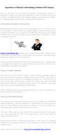 Importance of Manual Link Building in Modern SEO Industry PowerPoint PPT Presentation