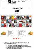 Catalogue Fall 2012 New titles PowerPoint PPT Presentation