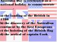 Australia Day is celebrated as a national holiday to commemorate ________. PowerPoint PPT Presentation