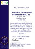 This is to certify that   Clondalkin Pharma and Healthcare (Hull) Ltd Burma Drive Marfleet Lane Hull HU9 5SD have achieved certification for the design and manufacture of self adhesive labels to customer requirements and specifications and where PowerPoint PPT Presentation