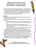 Classmate Interview Slideshow Assignment PowerPoint PPT Presentation