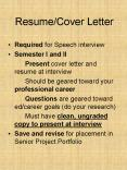 Resume/Cover Letter PowerPoint PPT Presentation