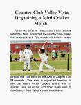 Country Club Valley Vista Organizing a Mini Cricket Match PowerPoint PPT Presentation