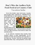 Andhra Style Food Festival at Country Club Vacation India PowerPoint PPT Presentation