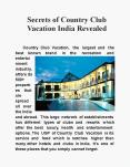 Secrets of Country Club Vacation India Revealed PowerPoint PPT Presentation