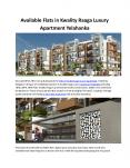 #2BHK Flat in Kwality Raaga Luxury Apartment Bangalore