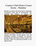 Country Club Fitness Centre Kurla – Mumbai PowerPoint PPT Presentation