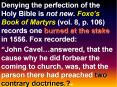 Denying the perfection of the Holy Bible is not new. Foxe PowerPoint PPT Presentation