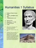 Humanities 1 Syllabus PowerPoint PPT Presentation