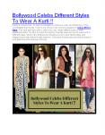 Bollywood Celebs Different Styles To Wear A Kurti !! PowerPoint PPT Presentation