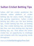CBTF & Free cricket betting tips PowerPoint PPT Presentation