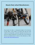 Bicycle Chain wheel Manufacturers PowerPoint PPT Presentation