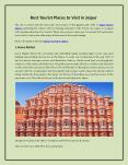 Best tourist places to visit in Jaipur PowerPoint PPT Presentation