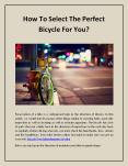 How To Select The Perfect Bicycle For You? PowerPoint PPT Presentation