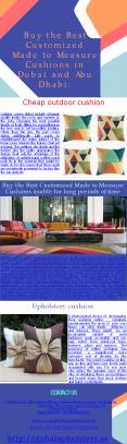 Customized Made to Measure Cushions in Dubai PowerPoint PPT Presentation