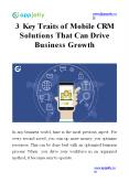 3 Key Traits of Mobile CRM Solutions That Can Drive Business Growth PowerPoint PPT Presentation
