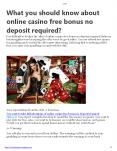 What you should know about online casino free bonus no deposit required? PowerPoint PPT Presentation