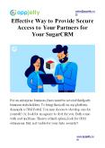 Effective Way to Provide Secure Access to Your Partners for Your SugarCRM PowerPoint PPT Presentation