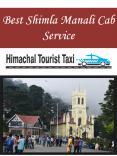 Best Shimla Manali Cab Service PowerPoint PPT Presentation