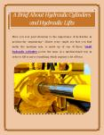 A Brief About Hydraulic Cylinders and Hydraulic Lifts PowerPoint PPT Presentation