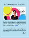 Best Women Speakers by Maxine Reyes PowerPoint PPT Presentation