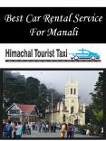 Best Car Rental Service For Manali PowerPoint PPT Presentation
