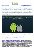 5 Top Reasons For Converting An App From IOS To Android PowerPoint PPT Presentation