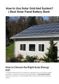 How to Choose the Right Solar Grid-Tied System? PowerPoint PPT Presentation