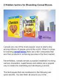 2 Hidden Tactics for Branding Cereal Boxes PowerPoint PPT Presentation