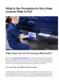 Where You Can Get New License Plate In PA? PowerPoint PPT Presentation