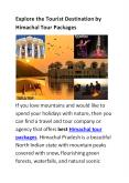 Himachal Tour Package PowerPoint PPT Presentation