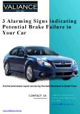 3 Alarming Signs indicating Potential Brake Failure in Your Car PowerPoint PPT Presentation