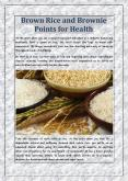 Brown Rice and Brownie Points for Health PowerPoint PPT Presentation
