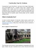 Cambodia Visa for Indians PowerPoint PPT Presentation