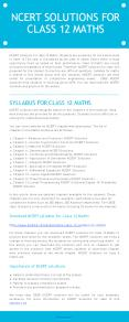 NCERT solutions for class 12 Maths PowerPoint PPT Presentation