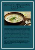 Why Should You Add Cucumber Raita In Your Diet During Summer? PowerPoint PPT Presentation