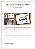 Top 4 Reasons Why People Take Out A Personal Loan PowerPoint PPT Presentation