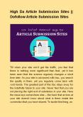 High Da Article Submission Sites || Dofollow Article Submission Sites PowerPoint PPT Presentation