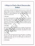 4 Ways to Find a Best Cheesecake Dubai PowerPoint PPT Presentation