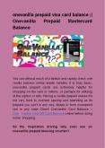 Onevanilla prepaid visa card balance    Onevanilla Prepaid Mastercard Balance PowerPoint PPT Presentation