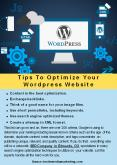 Tips to optimize your Wordpress Website PowerPoint PPT Presentation