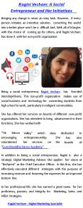 Ragini Vecham: A Social Entrepreneur and Her Initiatives PowerPoint PPT Presentation