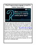 What Programming Language Is Used For Mobile Game Apps? PowerPoint PPT Presentation