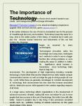 The Importance of Technology PowerPoint PPT Presentation