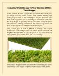 Install Artificial Grass To Your Garden Within Your Budget PowerPoint PPT Presentation