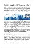 Find the Complete MBA Course in Dubai PowerPoint PPT Presentation