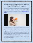 Tips to Enhance Your Presentation Skills and Design Thinking Skills in Singapore PowerPoint PPT Presentation
