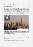 Master of Business Administration – University of Wollongong Dubai PowerPoint PPT Presentation