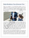Dubai Residence Visa & Investor Visa PowerPoint PPT Presentation